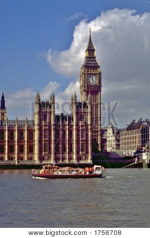 Houses Of Parliament And Big Ben On River Thames