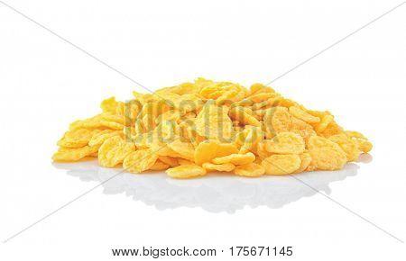 Cornflakes on white background