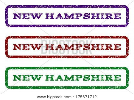 New Hampshire watermark stamp. Text tag inside rounded rectangle with grunge design style. Vector variants are indigo blue, red, green ink colors. Rubber seal stamp with unclean texture.