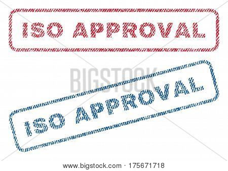 ISO Approval text textile seal stamp watermarks. Blue, red fabric vectorized texture. Vector caption inside rounded rectangular shape. Rubber sticker with fiber textile structure.