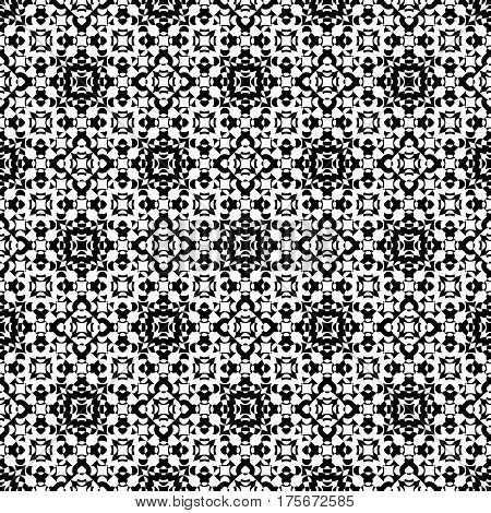 Vector seamless pattern. Abstract ornamental black & white texture, repeat geometric tiles. Endless specular monochrome background. Design element for prints, decor, digital, web, textile, wrapping
