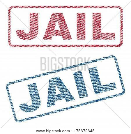 Jail text textile seal stamp watermarks. Blue, red fabric vectorized texture. Vector caption inside rounded rectangular shape. Rubber sign with fiber textile structure.