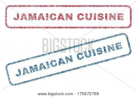 Jamaican Cuisine text textile seal stamp watermarks. Blue, red fabric vectorized texture. Vector tag inside rounded rectangular shape. Rubber sign with fiber textile structure.