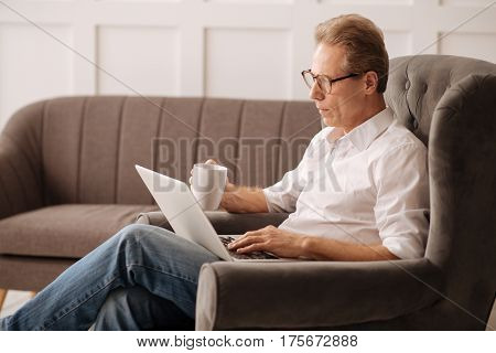Important task. Serious self employed nice man sitting in his armchair and looking at the laptop screen while concentrating on his work