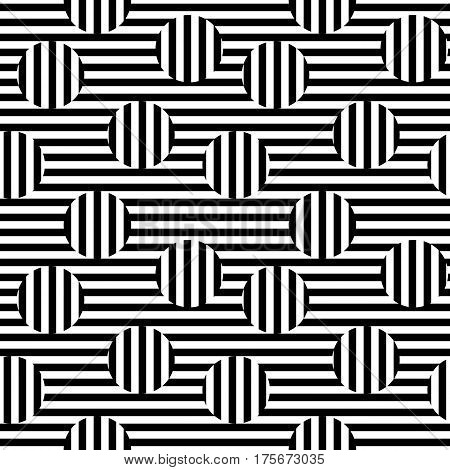 Vector monochrome seamless pattern. Black & white striped texture. Visual illusion effect, horizontal and vertical lines. Trendy abstract design, urban pop style. Stylish abstract background