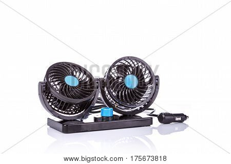 Black Mini Fan Use In The Car. Studio Shot Isolated On White
