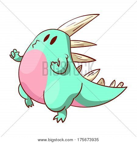 Colorful vector illustration of a cute dinosaur or a dragon joging runing