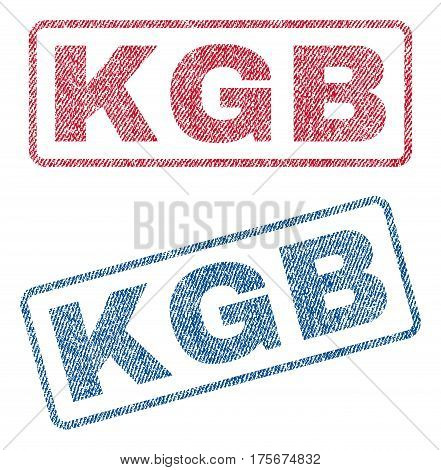KGB text textile seal stamp watermarks. Blue, red fabric vectorized texture. Vector caption inside rounded rectangular banner. Rubber sticker with fiber textile structure.
