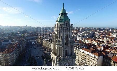 Aerial View of City Hall, Porto, Portugal