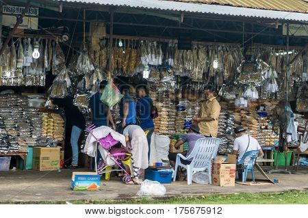Kota Kinabalu,Sabah-March 1,2017:Salted fish,anchovy and seafood products at Filipino Market,Kota Kinabalu,Sabah,Borneo.Filipino Market in Kota Kinabalu are very popular shopping places for not only the locals but also the tourists.