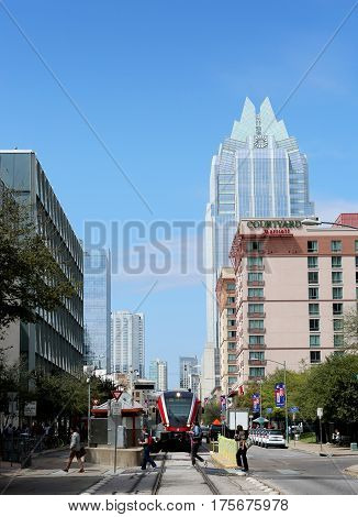 AUSTIN, TEXAS - MAR 8, 2017: SXSW South by Southwest Annual music, film, and interactive conference and festival. Light rail station at convention center, downtown.