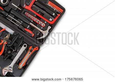 New Square Black Tool Box. Studio Shot Isolated On White Background