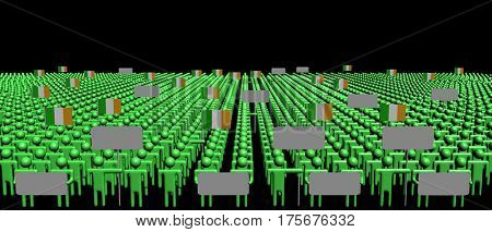Crowd of people with signs and Irish flags 3d illustration