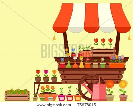 flower stand with spring garden flowers. concept spring season vector illustration.