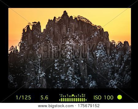 Camera Viewfinder With Travel Destination Attraction.