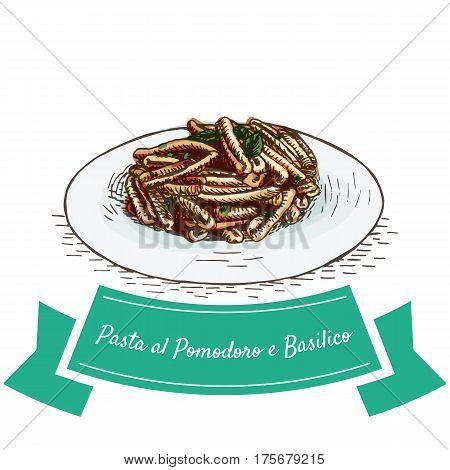 Pasta al Pomodoro e Basilico colorful illustration. Vector illustration of Italian cuisine.