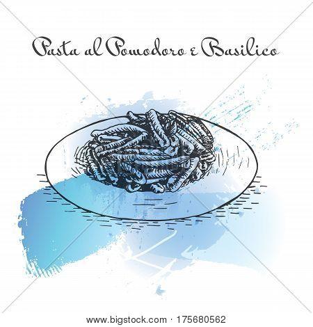 Pasta al Pomodoro e Basilico watercolor effect illustration. Vector illustration of Italian cuisine.