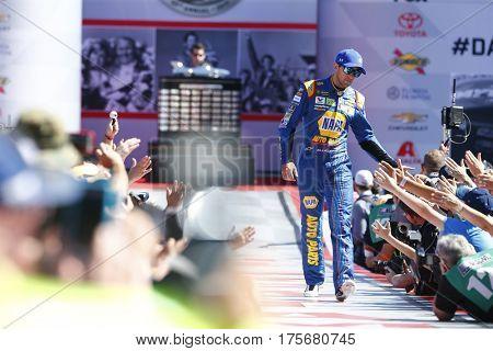 February 26, 2017 - Daytona Beach, Florida, USA: Chase Elliott (24) gets introduced to the crowd for the Daytona 500 at Daytona International Speedway in Daytona Beach, Florida.