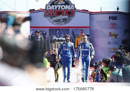 February 26, 2017 - Daytona Beach, Florida, USA: Jimmie Johnson (48) and Ricky Stenhouse Jr. (17) get introduced to the crowd for the Daytona 500 in Daytona Beach, Florida.