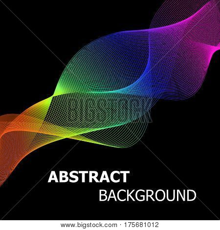 Colourful abstract lines wave background, stock vector