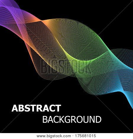 Colourful abstract line wave background, stock vector