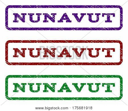 Nunavut watermark stamp. Text tag inside rounded rectangle frame with grunge design style. Vector variants are indigo blue, red, green ink colors. Rubber seal stamp with scratched texture.
