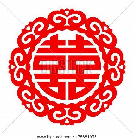 Vector Chinese double happiness symbol in wedding