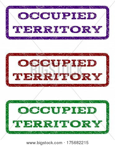 Occupied Territory watermark stamp. Text tag inside rounded rectangle with grunge design style. Vector variants are indigo blue, red, green ink colors. Rubber seal stamp with dirty texture.