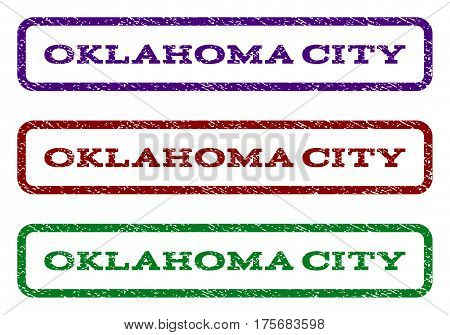 Oklahoma City watermark stamp. Text tag inside rounded rectangle frame with grunge design style. Vector variants are indigo blue, red, green ink colors. Rubber seal stamp with dirty texture.