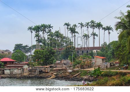 Village Of Porto Alegre In Island Of Sao Tome And Principe - Africa