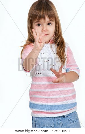 Nice little girl counting fingers