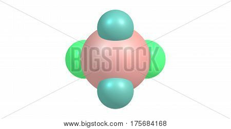 Dichlorosilane or DCS is a chemical compound with the formula H2SiCl2. It is a chemically active gas. 3d illustration