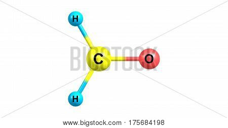 Formaldehyde is a naturally occurring organic compound with the formula CH2O. It is the simplest of the aldehydes. 3d illustration