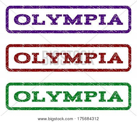 Olympia watermark stamp. Text tag inside rounded rectangle frame with grunge design style. Vector variants are indigo blue red green ink colors. Rubber seal stamp with unclean texture.
