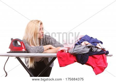 Bored Woman Holding About To Do Ironing
