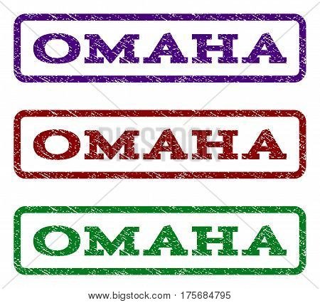 Omaha watermark stamp. Text tag inside rounded rectangle frame with grunge design style. Vector variants are indigo blue red green ink colors. Rubber seal stamp with scratched texture.