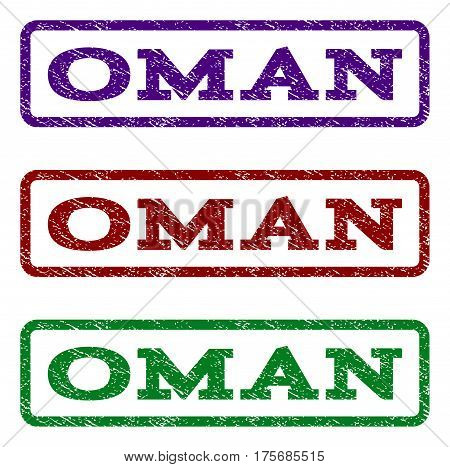 Oman watermark stamp. Text tag inside rounded rectangle frame with grunge design style. Vector variants are indigo blue red green ink colors. Rubber seal stamp with dust texture.