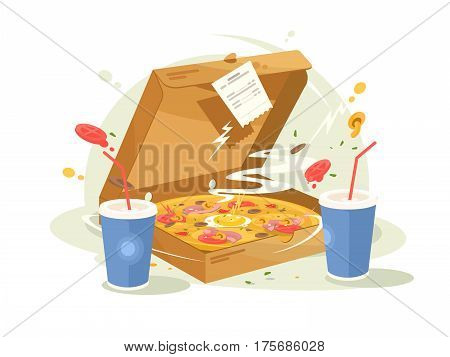 Pizza fast food delicious and fragrant in cardboard box. Vector illustration