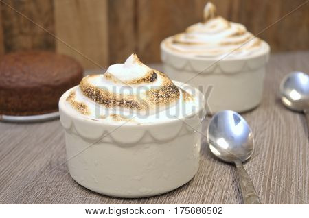 Individual serving of Vegan Baked Alaska with Agua Fava Meringue