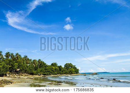 Secluded beach during the daytime with blue sky