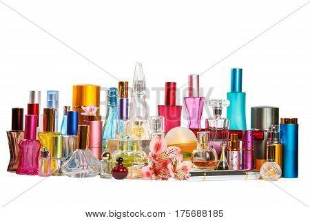 Perfume bottles isolated on the white background