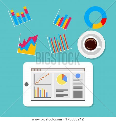 Mobile Business intelligence ,  business dashboard, business statistics concept illustration.
