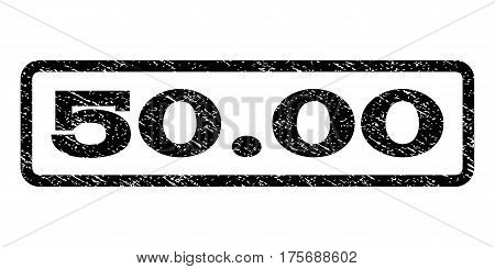 50.00 watermark stamp. Text caption inside rounded rectangle with grunge design style. Rubber seal stamp with dirty texture. Vector black ink imprint on a white background.