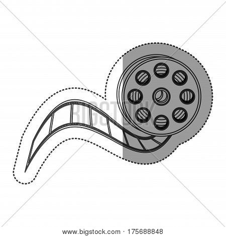 monochrome contour sticker with cinematography movie video film tap vector illustration