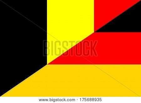 belgium germany neighbor countries half flag symbol