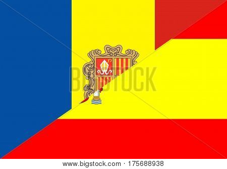 andorra spain neighbor countries half flag symbol