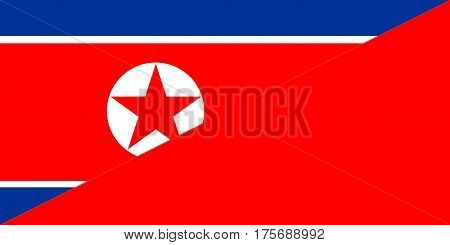 north korea china neighbor countries half flag symbol