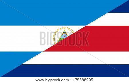 nicaragua costa rica neighbor countries half flag symbol