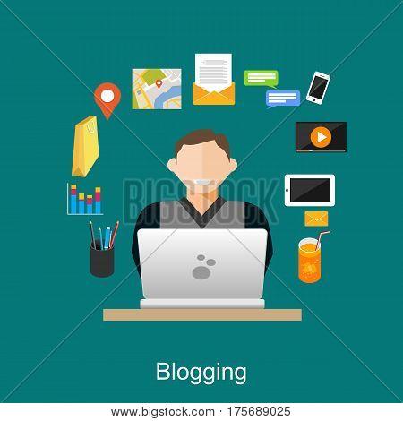Blogging illustration concept. Blogger. Vlog. Social media