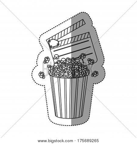 monochrome contour sticker with popcorn container and clapper board vector illustration